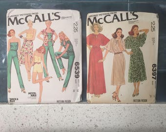 Vintage Sewing Patterns, 1970s McCalls Sewing Pattern Size 14 L 70s Romper pattern Flutter sleeve dress pattern Carefree Patterns by McCalls