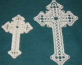 Two Lace Crosses, machine embroidered, white thread, Bookmarks