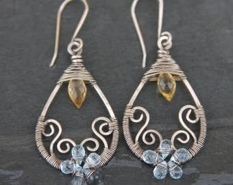 citrine, topaz, and sterling silver wire wrapped tear drop earrings