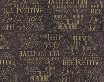 Bee Creative Words Ebony 19752 15 | Deb Strain Designer | Moda Quilting fabric