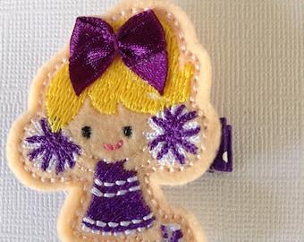 Cheerleader Hair Clip, Purple & White Cheerleader Hair Clip, Girls Hair Clip, Felt Hair Clip, Toddler's Hair Clip, Clippies (Item 16-538)
