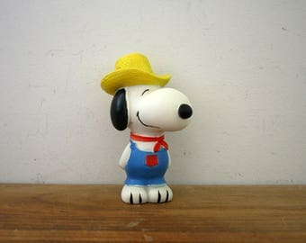 vintage 1960s Farmer Snoopy Rubber Squeaker Toy 6 Inch Rubber Doll