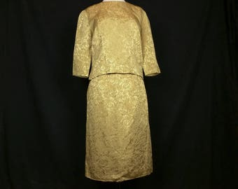 Vintage Skirt Suit Gold Brocade 3/4 Sleeve Top Straight Skirt Women's S 60s