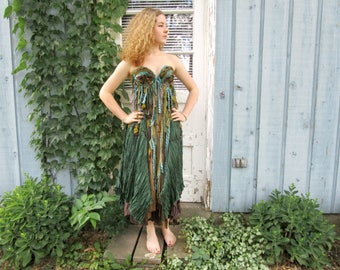 OOAK Woodland Bustier Dress// Green Silk// Medium// Wearable Art// emmevielle
