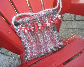 Handwoven Purse Little Red Clutch 28-inch Strap Wool Alpaca Cotton Pouch Bag 5-inch by 5-inch with Flap Red Gray Black White Handspun Accent