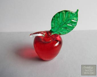 Red Apple Fruit Hand-Blown Glass Figurine Statue Collectible Gifts Decoration FRUIT Glass Apple Glass Miniature