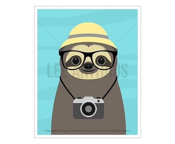 28J Sloth Art - Sloth with Camera Wall Art - Vintage Camera Print - Camera Art - Sloth Lover Gift - Photographer Gift - Retro Camera Art