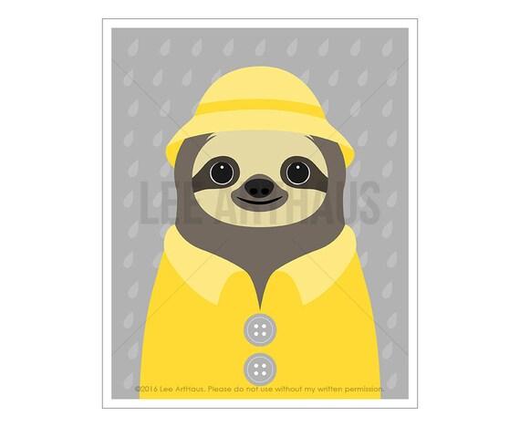 48J Sloth Drawing - Sloth Wearing Yellow Raincoat Wall Art - Sloth Artwork - Sloth Portrait - Art for Kids - Rain Coat Print - Raindrops Art