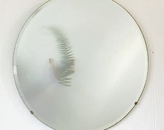 vintage wall mirror - large round beveled edge - simple mirror
