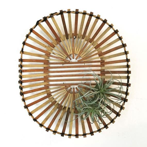 vintage wooden basket - oval slatted stick - centerpiece fruit bowl - boho wall decor