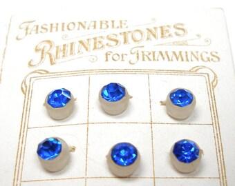 1920s Rhinestone buttons, 9 sapphire blue glass on original, unused card from Czechoslovakia.