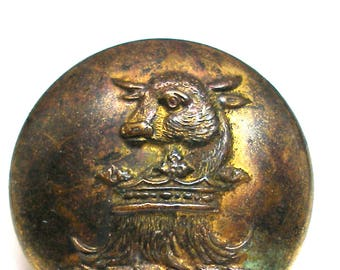 """1800s Livery BUTTON, Bull & crown, brass button 1"""". Made in London."""