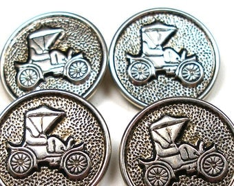 "1970s car Buttons, 4 vintage metal automobiles in silver. 7/8""."