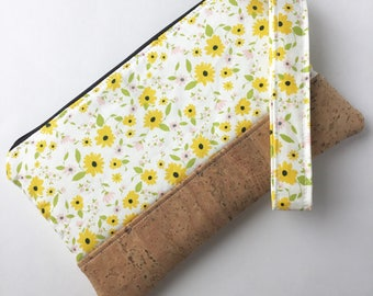 Cork Clutch - Zippered Clutch - Yellow Primrose Clutch  - Wristlet Clutch - Wristlet Clutch Purse - Cork Wristlet Clutch - Floral Clutch