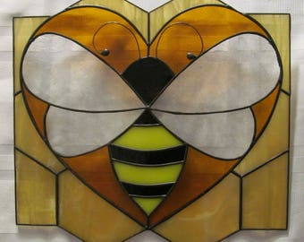 Loves Bees Stained Glass Suncatcher