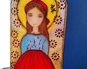 Sainte Maria Goretti - peinture technique mixte sur bois par FLOR LARIOS (6 x 12 pouces)
