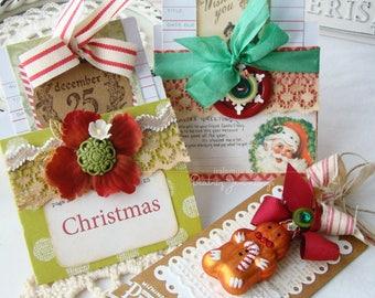 Christmas Greetings Shabby Chic Handmade Tag Set - Christmas Tags - Tags - Ornaments -Christmas Gift Tags -Gift Tags -Christmas -Tags-Gifts