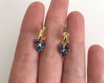 Blue Rhinestone Tulip Goldtone Screwback Earrings
