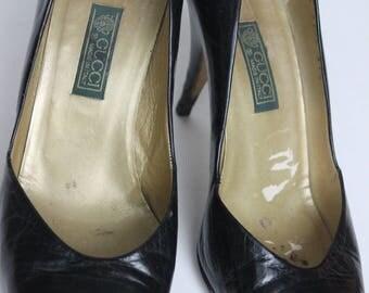 Vintage Gucci Shoes Black Gucci High Heels Authentic Black Leather Gucci Pumps Women's Gucci  Vintage Gucci Shoes 1980's Gucci Pumps
