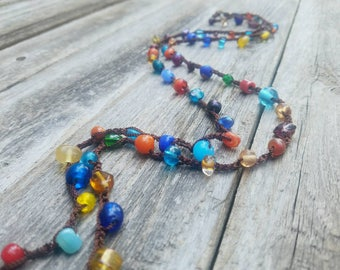Versatile Lampwork Glass Beaded Necklace Wrap Bracelet Rainbow Beaded Necklace Bead Necklace Glass Necklace Colorful MADE TO ORDER
