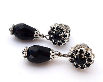 0g 8mm Dangle Plugs Black Elegance  for Stretched Ears-Piercing-Surgical Steel- Formal Gauges-316L Wedding Plugs-Girly Plugs- Prom Plugs