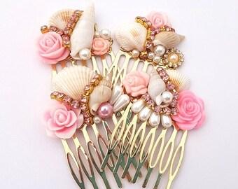Pink Golden Mermaid Combs Set of 4 Wedding Bridal Bridesmaid prom formal party fest Hochzeit Unique OOAK hair Haarspangen Haarkammen Pretty