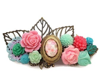 Spring Wedding Clip-Statement Barrette-Spring Fashion-Easter Fashion--Bridal Hair Clip-Hair Combs-Floral Hair Clip-Fairy Barrette-Mint-Pink