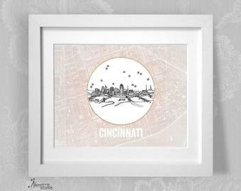 Cincinnati, Ohio - United States - Instant Download Printable Art - Vintage City Skyline Map Series