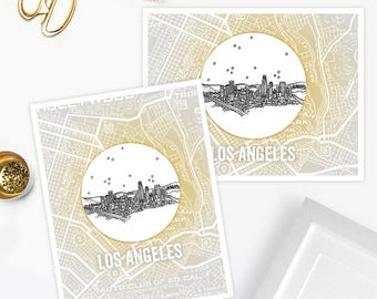 Los Angeles, California - United States - Instant Download Printable Art - Vintage City Skyline Map Series