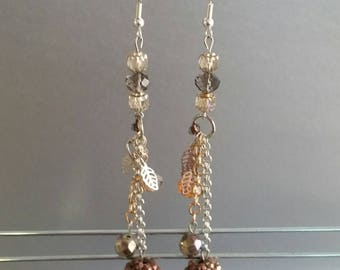 Charm Earrings in Brown and Silver