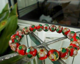 Vintage Cloisonné Hand Bead Enamel Bracelet / Red With Pink Dogwood Flowers Japanese Bracelet