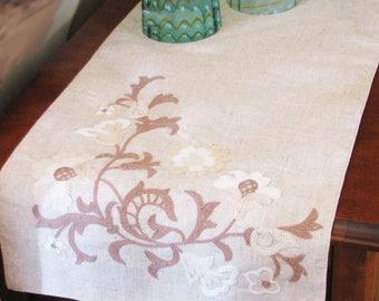 Embroidered Linen Table Runner