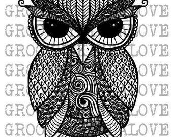 Owl Bundle 5 Design Instant Download for Electronic Cutters Silhouette Cricut vinyl digital decal hippie boho Feathers tshirt heat transfer