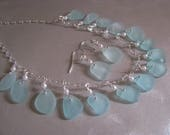 SEA GLASS SALE Reserved for Jan Aqua Blue Wedding Sea Glass Necklace-Bridal Gift Sea Glass Necklace-Ocean Jewelry-Matching Earrings