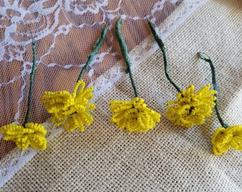 Set of Five (5) Vintage Glass Hand-Beaded Flower Picks, Flowers, Yellow