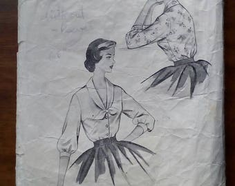 """1950s Blouse - 36"""" Bust - Blackmore 9041 - Vintage Sewing Pattern"""