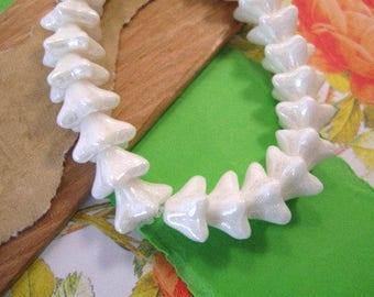 Czech 5 Point White Bellflower 6x9mm Glass Beads in a High Gloss Finish - 25 Count