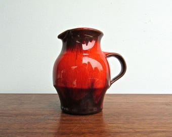 Blue Mountain Pottery Flame-Red-Orange Large-Creamer, Mid Century Canadian red/brown drip glaze