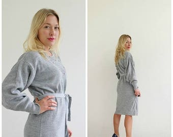 ANNIVERSARY SALE 1980s Heather Gray Slouch Dress /// Size Small to Large