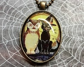 Vintage Owl and Black Cat Halloween Pendant Necklace