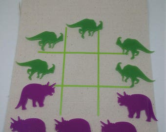 Tic Tac Toe, game in a bag,dino tic tac toe, kids game, portable game, travel game,children's game