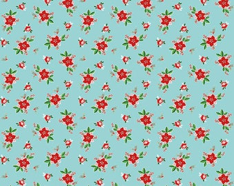 FABRIC CHRISTMAS PIXIE Noel Poinsettias on Aqua by Riley Blake  1/2 Yard    We combine shipping
