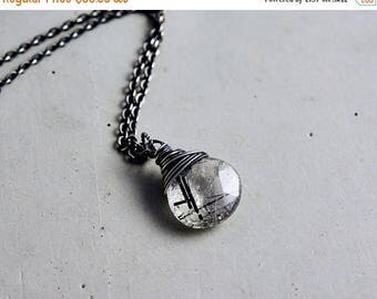 Tourmalinated Necklace, Tourmalinated Quartz, Crystal Pendant, Sterling Silver