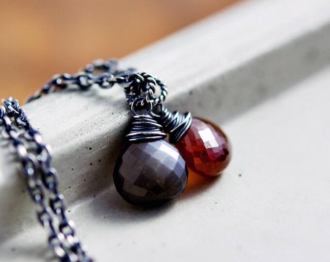 Garnet Necklace, Garnet Pendant, Moonstone Pendant, Moonstone Jewelry, Black Moonstone, January Birthstone
