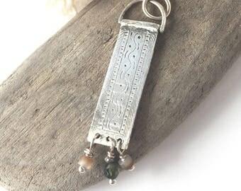 engraved silver pendant necklace, silver boho pendant, gypsy necklace, minimalist necklace pendant