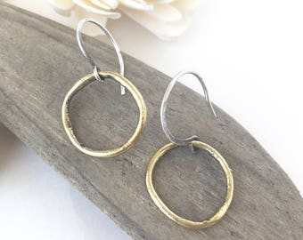 gold hoop earrings boho, silver and gold hoop earrings, pure silver and gold earrings, sterling silver earrings