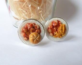 Currywurst Cufflinks - German Sausage and Bun Cufflinks - Miniature Currywurst - Schickie Mickie Original 100% handmade