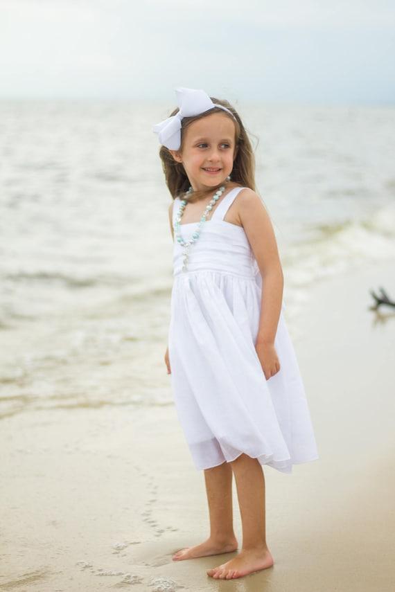 Girls White Beach Dress - White Gauze Dress - Girls White Flower Girl Dress - White Junior Bridesmaid Dress - Girls White Dress