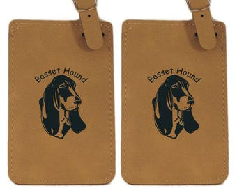Basset Hound Head Luggage Tag 2 Pack L1483