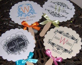 Die Cut Wedding Fans, Wedding Monogram, Paper Fans, Monogrammed Wedding Fan, set of 50 FANS, Wavy Fan Handles, Fans, Summer Wedding